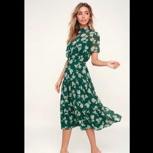 Dark Green Floral Midi Dress